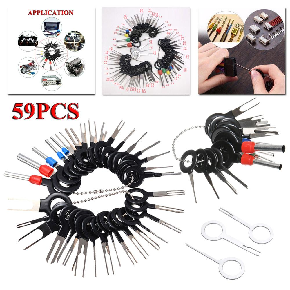 59pcs Car Terminal Removal Kit Wiring Crimp Connector Pin Extractor Puller Terminal Repair Professional Tools