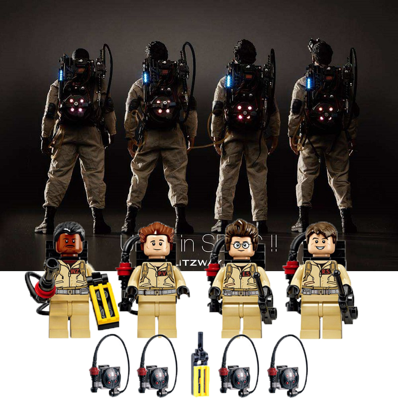8Pcs=2Set Compatible Blocks Super Heroes Ghostbusters Figures Weapon Fastic Assemble Building Blocks Collection Toys  XH 108-111