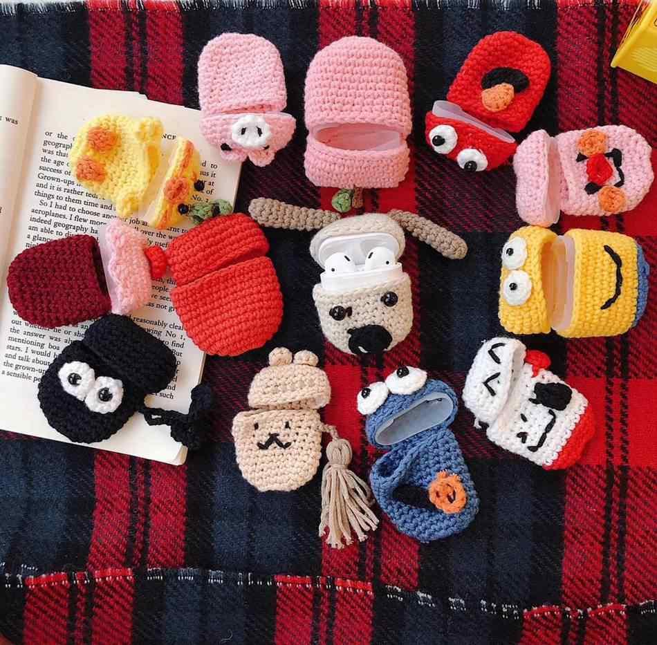 Airpods 2 케이스에 대 한 뜨개질 양모 이어폰 케이스 귀여운 동물 만화 니트 스웨터 공기 포드 케이스 이어 버드 가방에 대 한 anti-slip 커버