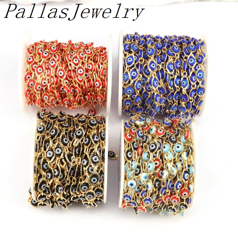 High Quality 5 Meters Rainbow Oval Eyes Beads Necklace Chains, Plated Gold Copper Wrapped Round Enamel Beads Rosary Chains