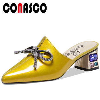 CONASCO Women Sandals Pumps Genuine Leather Slippers Fashion Butterfly-Knot Mules Summer Crystal High Heels Casual Shoes Woman