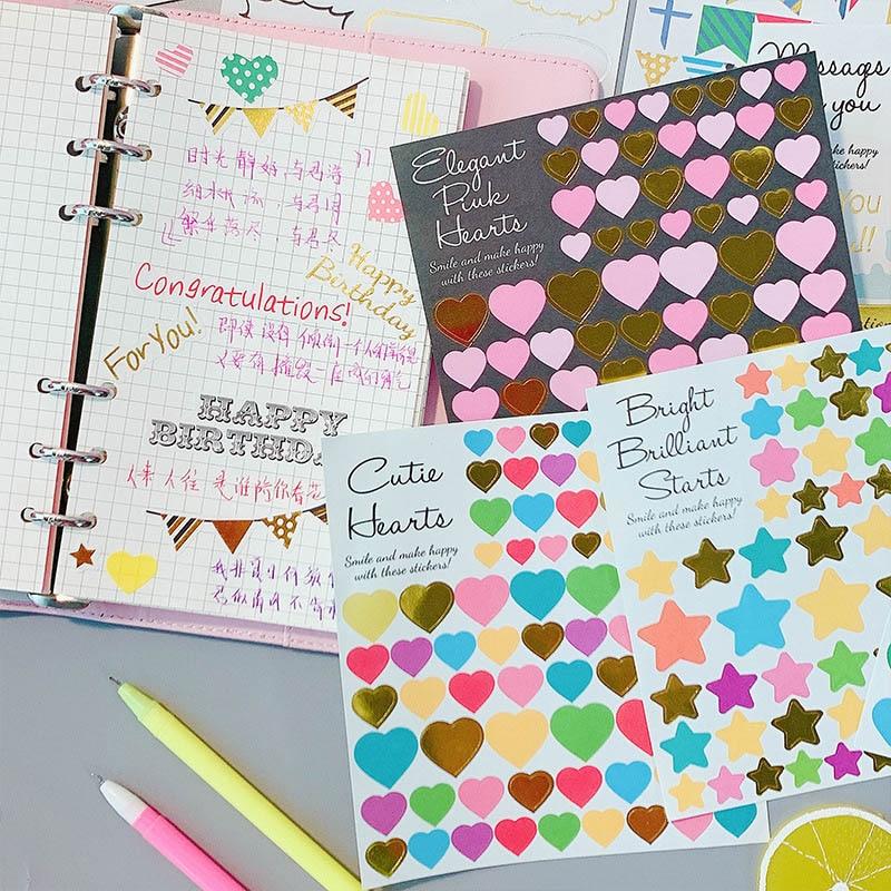 1Sheet Cute Stationery Stickers Kawaii Heart Star Stickers Pentagram Decor Sticker For Girls  Scrapbooking Diary Albums Supplies