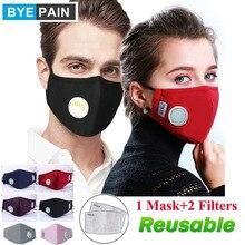 1 قطعة BYEPAIN أزياء الرجل امرأة القطن التنفس صمام PM2.5 الوجه الفم قناع الكربون المنشط تصفية تنفس الفم دثر
