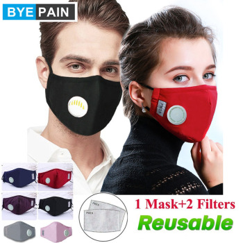 1Pcs BYEPAIN Fashion Man Woman Cotton Breath Valve PM2.5 Face Mouth Mask Activated carbon filter respirator Mouth-muffle