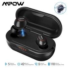 Fones de ouvido sem fios mpow t5/m5 ipx7, com bluetooth 5.0, aptx, 36h de reprodução, estéreo, cancelamento de ruídos com microfone