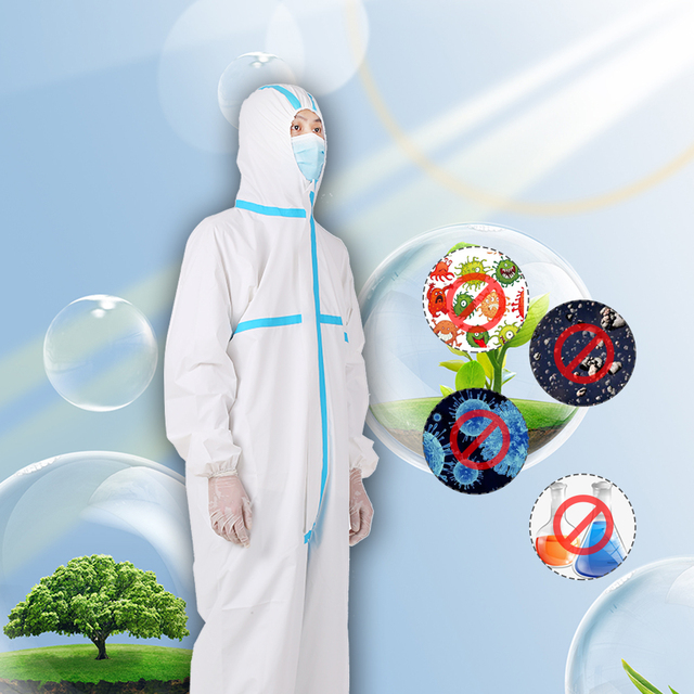 Professional Protective Clothing Coverall Hazmat Suit Protection PPE Suit Protective Disposable Clothing Fact 2