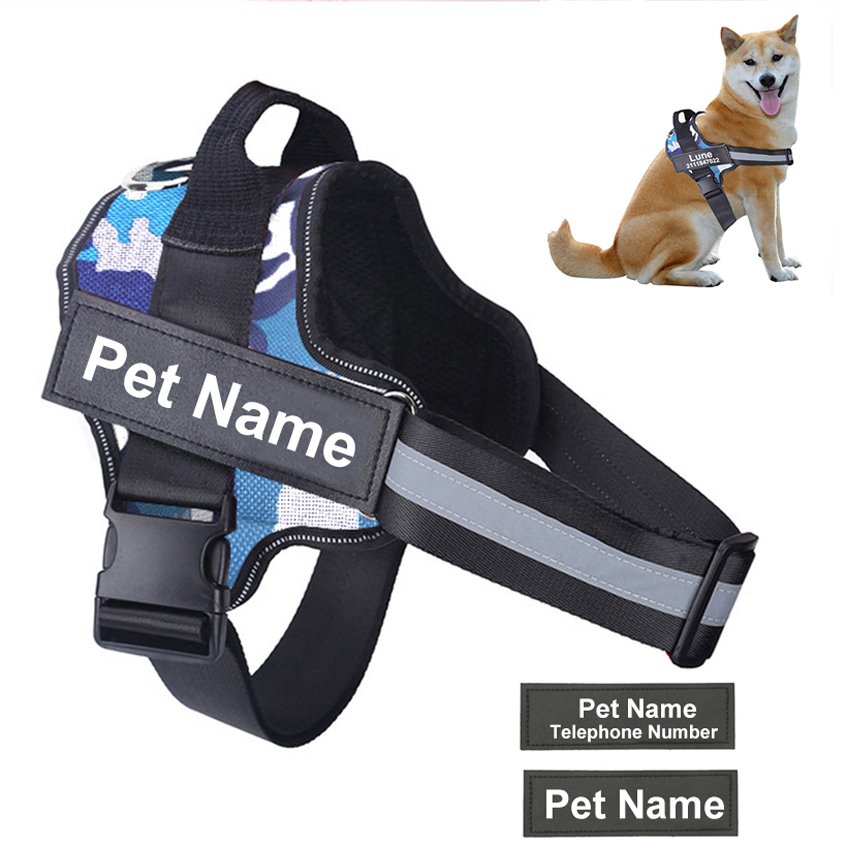 Pettorina per cani NO PULL riflettente traspirante regolabile pettorina per animali domestici con Patch personalizzata ID forniture per cani da passeggio all'aperto 1