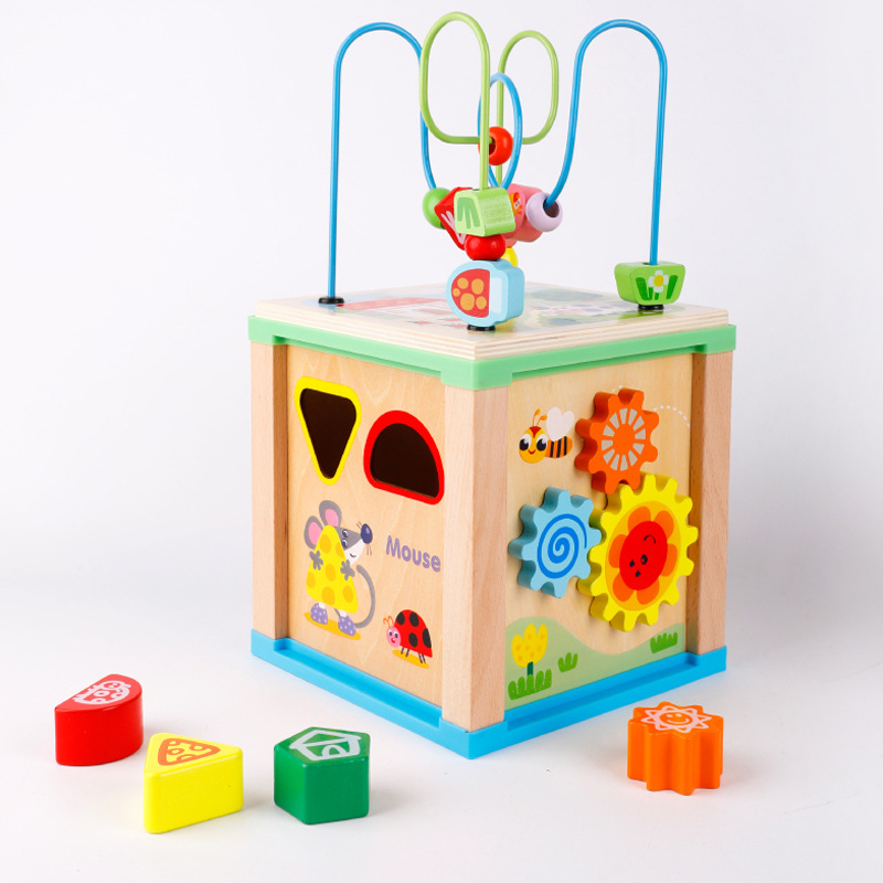 MWZ Multi-functional Case Column Bead-stringing Toy Four Sides Treasure Chest Shape Cognitive Matching Educational CHILDREN'S To