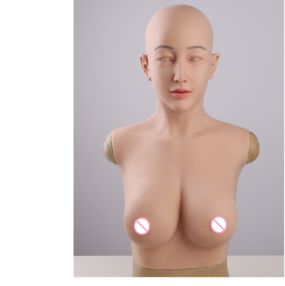 Eyung crossdresser silicon mask with d cup boobs realistic female goddess face human mask Halloween Masquerade party ball mask (9)