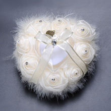 Heart-Shape Flowers Ring Ring Pillow Pillow Cushion Ring Party Decor Marriage Valentine's Day Gift heart shaped wedding ring pillow artificial rose flowers crystal fake pearls decor ring holder d1 decor