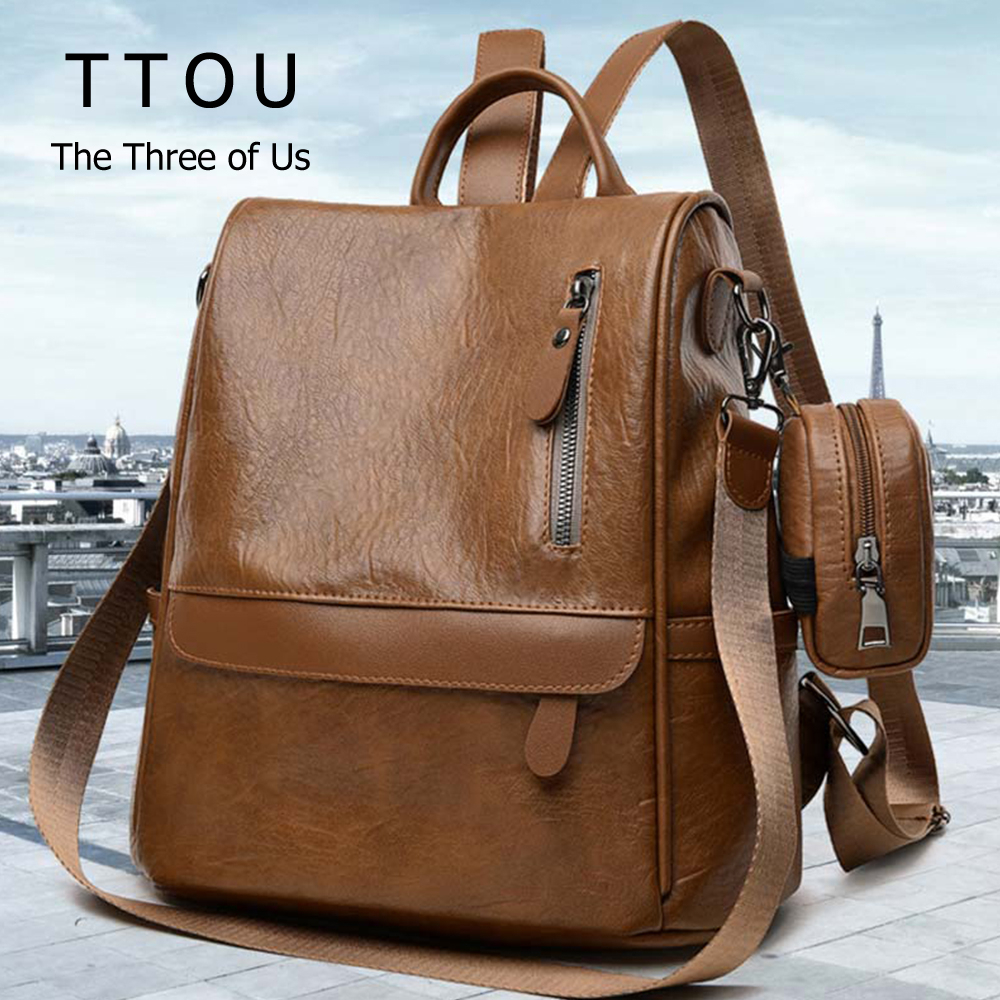 TTOU Female Anti-theft Backpack Classic PU Leather Solid Color Bagpack Canta Fashion Shoulder Bag With Small Purse Wallet Bag