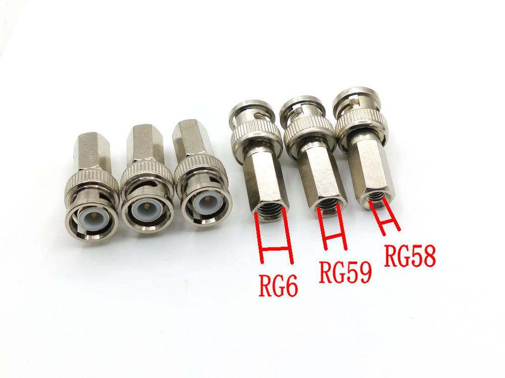 6pcs BNC male twist-on connectors RG58/RG59/RG6 coax cable plugs for CCTV cameras