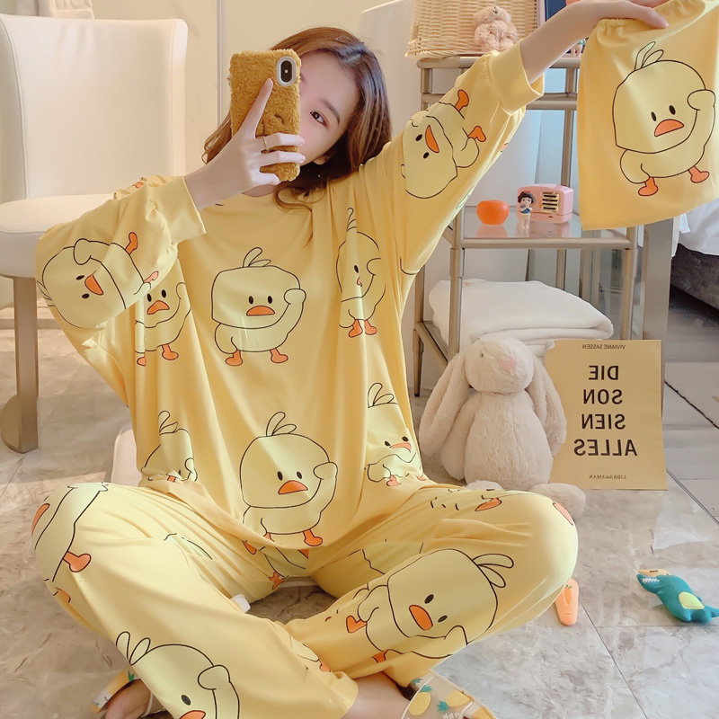 Beautiful Cotton Pajamas For Women Spring Loose Leisure Womens Sleepwear Set Cute Homewear Send Same Storage Bag Fashion Design