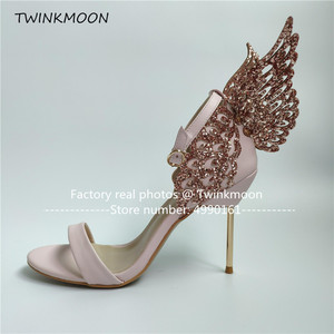 Image 5 - נשים high end ורוד פרפר סנדלי מתכת פגיון העקב מתכתי מגזרות משאבות בלינג בלינג קריסטל סלבריטאים חתונה נעליים