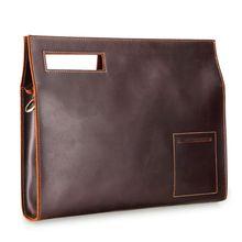 Retro Leather Men Storage Handbag File Briefcase Messenger Bag for Laptop Phone