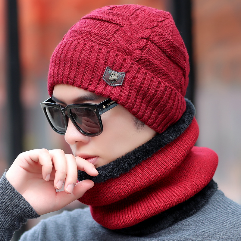 Men Winter Hat Korean-style Youth Outdoor Cycling Wool Cap Winter Alphabet Plus Velvet Warm Cold Knitted Hat