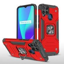 For Funda OPPO Realme C3 C11 C15 Premium Case Silicon Bumper Armor Hard Back Panel  Realme C15 Case C 3 11 15 Magnet Ring Cover