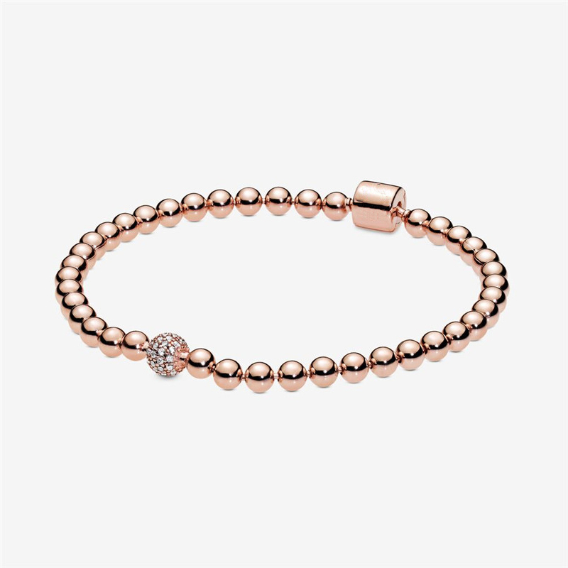 Women браслеты Round Beads & Pave Stones Rose Golden Bracelets for Women Fashion Jewelry Signature Clasp Charms Bracelets Girls