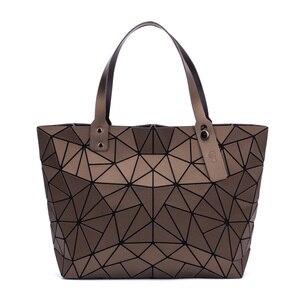 Image 2 - Sac à main géométrique pour femmes, sac à épaule uni, fourre tout, sacoche pliable pour dames, décontracté