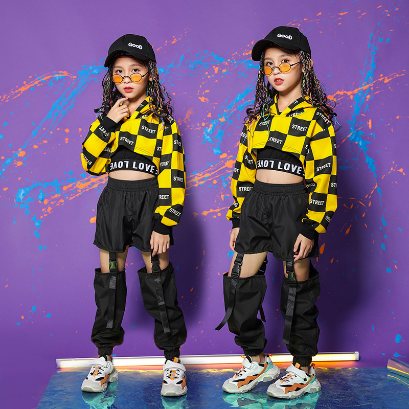 Kid Adult Cool Hip Hop Clothing Hoodie Crop Top Sweatshirt Shirt  Jazz Ballroom Dance Costume Causal Pants For Girl StreetWear