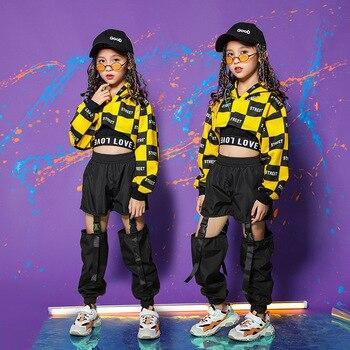 Kid Adult Cool Hip Hop Clothing Hoodie Crop Top Sweatshirt Shirt  Jazz Ballroom Dance Costume Causal Pants For Girl StreetWear