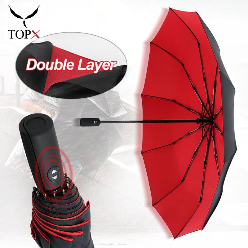 Зонт Автоматический двухслойный непродуваемый для мужчин и женщин, большие дождевые зонтики от дождя и ветра в деловом стиле, 3 сложения, 10 к
