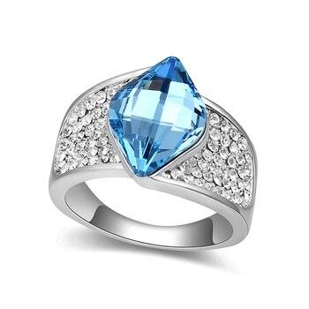 Diseño único elegante cristales grandes de Swarovski anillo de compromiso anillo de boda para joyería de mujer