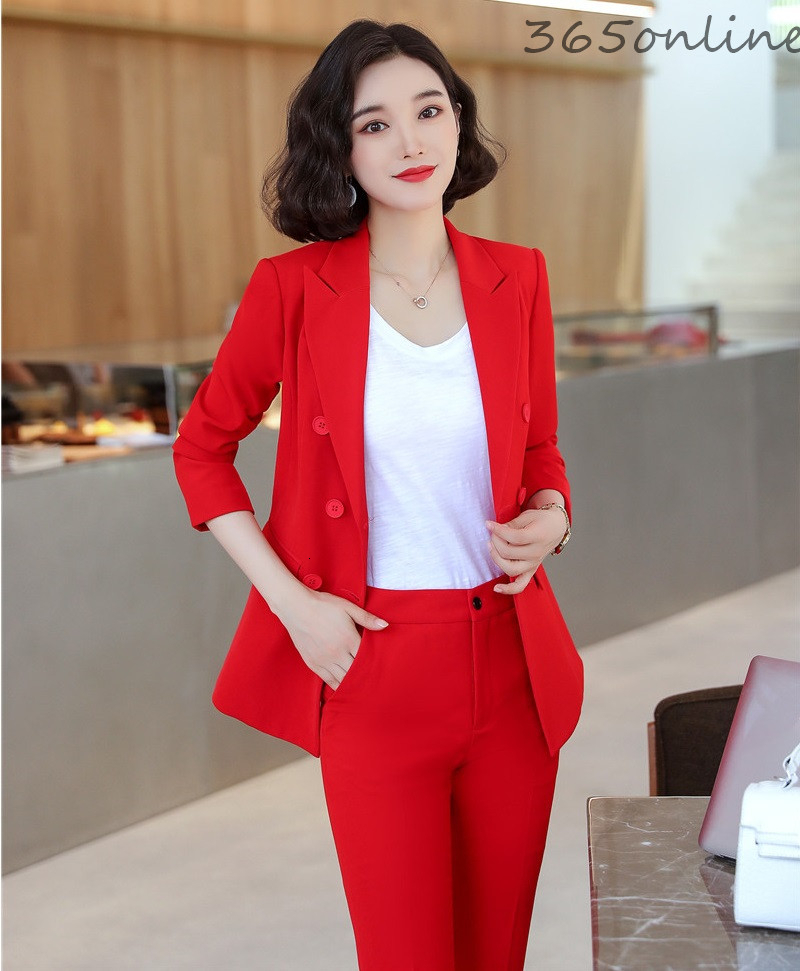 Novelty Red Uniform Designs Business Suits Spring Autumn Formal Professional Office Work Wear Pantsuits Ladies Blazers Set