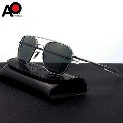 Amerikanischen Optische Sonnenbrille Männer Pilot Luftfahrt Sonnenbrille Anti-drop Explosion-proof Gehärtetes Glas Sonnenbrille Boutique AO55-57