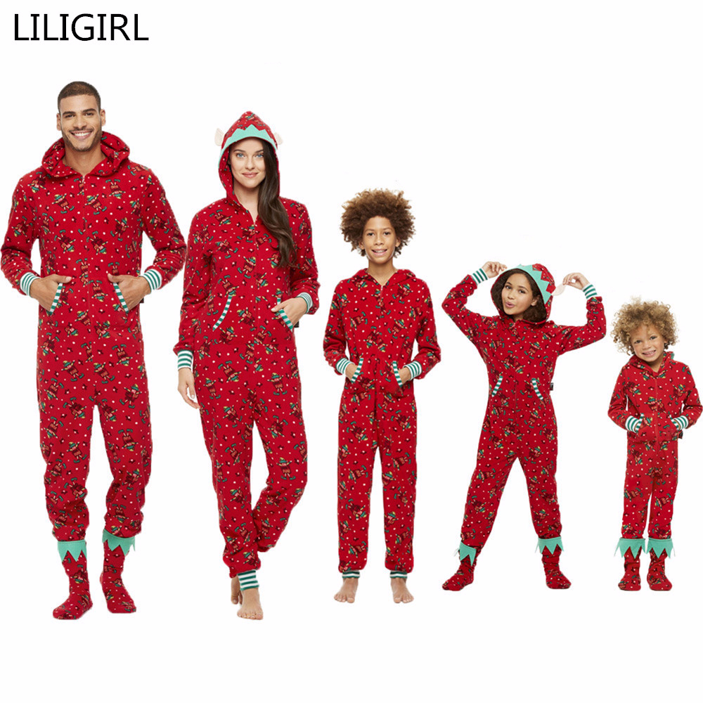 Family Matching Christmas Pajamas Set Mom And Baby Kid Clothes Print Long Sleeve Hooded Sweatshirt Pants 2pcs Xmas Clothing Suit