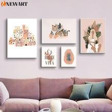 Скандинавская Абстрактная Картина на холсте для гостиной плакат