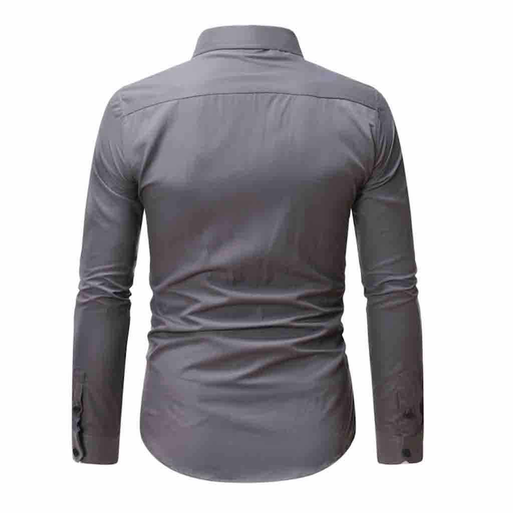 2020 nowych moda mężczyzna ubranie koszule topy Casual Slim luźna z długim rękawem czysta skręcić w dół kołnierz T-shirt topy bluzka camisa masculina