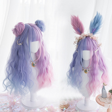 Headband Synthetic-Wig--Cap Lolita Purple Bangs Curly Mixed-Blue Cosplay Ombre Long Ladies