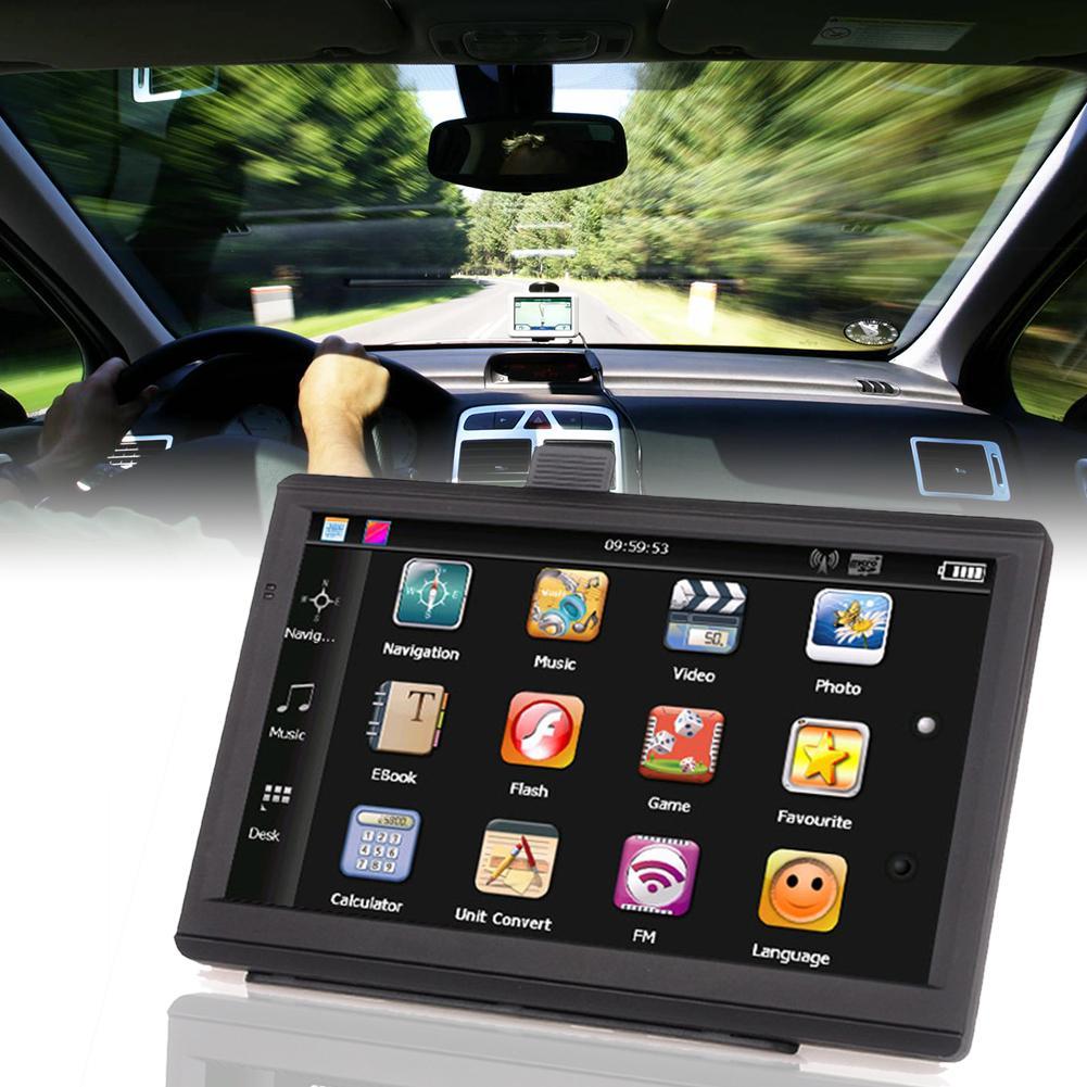 7in Auto Lkw GPS Navigation 256M RAM 8GB Unterstützung Russland EU Norht Südamerika Asien Afrika AU NZ nahen Osten Karten USB