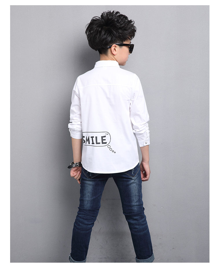 New Fashion Kids Blazer Shirt for Boys High Quality Teenage Shirt With Tie Long Sleeve Cotton Boys Blouse Child Wedding Tops