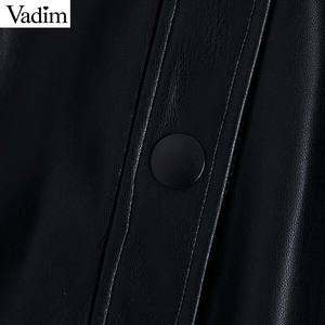 Image 4 - Vadim women stylish PU leather blouses long sleeve turn down collar shirts female office wear basic tops blusas LB722