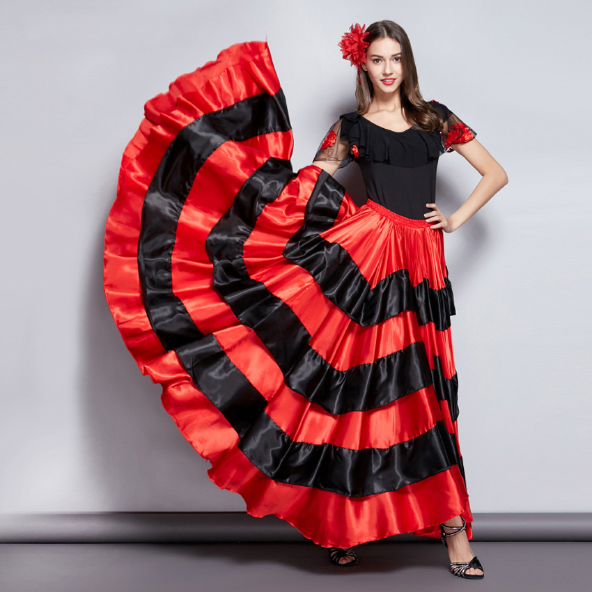 Adult Kids Gypsy Girls Women Spanish Flamenco Skirt Striped Satin Silk Big Swing Belly Dancing Red Skirt Team Performance