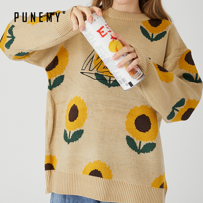Men Sweater Sunflower O-neck Casual Spandex Oversize Hip Hop Streetwear Harajuku Pullover Fashion 2020 Spring Mens Sweater