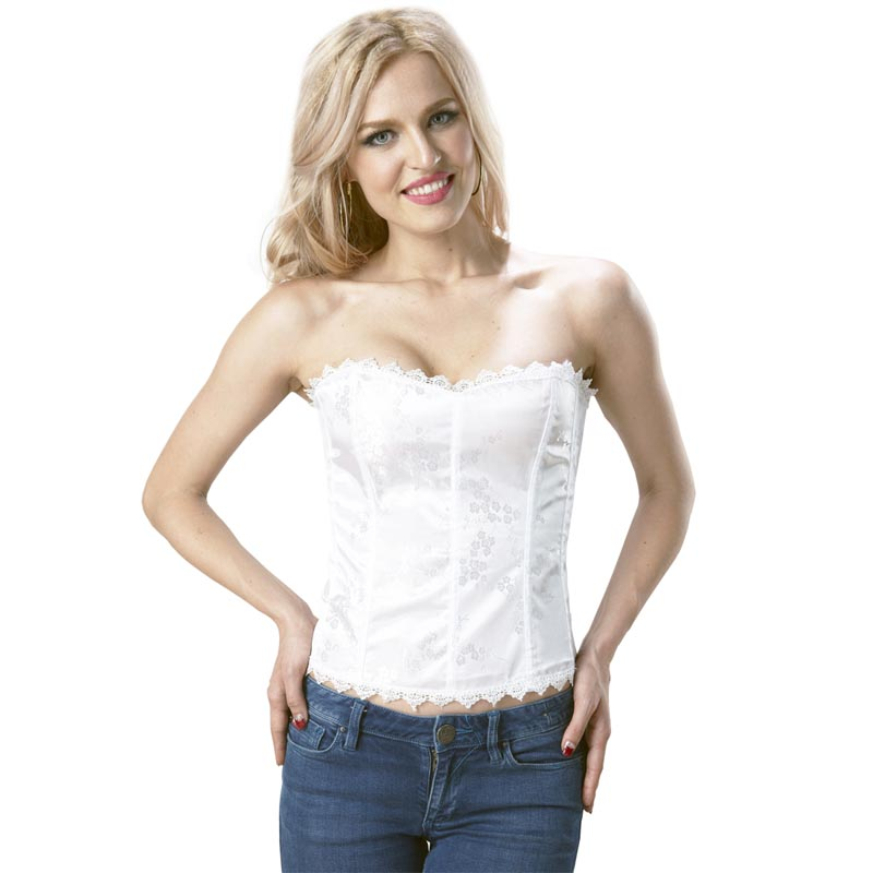 <font><b>Sexy</b></font> Bridal White Ladies Satin Boned <font><b>Corset</b></font> Bustier Overbust with Thong Outfit Basques Women Lingerie Size S to <font><b>XXXL</b></font> image