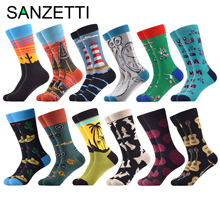SANZETTI 12 Pairs Fashion Men Combed Cotton Socks Long Funny Tropical Style Liberty Comfortable Male Dress Casual Design Socks
