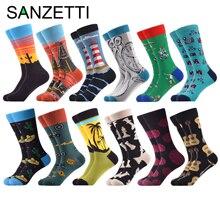 SANZETTI 12 пар, модные мужские носки из чесаного хлопка, длинные забавные удобные мужские носки в тропическом стиле, повседневные дизайнерские носки