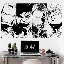 Iron Man Hulk Raytheon Captain America Vinyl wall sticker Superhero Movie Comics Wall decal JH370 ultimate comics captain america