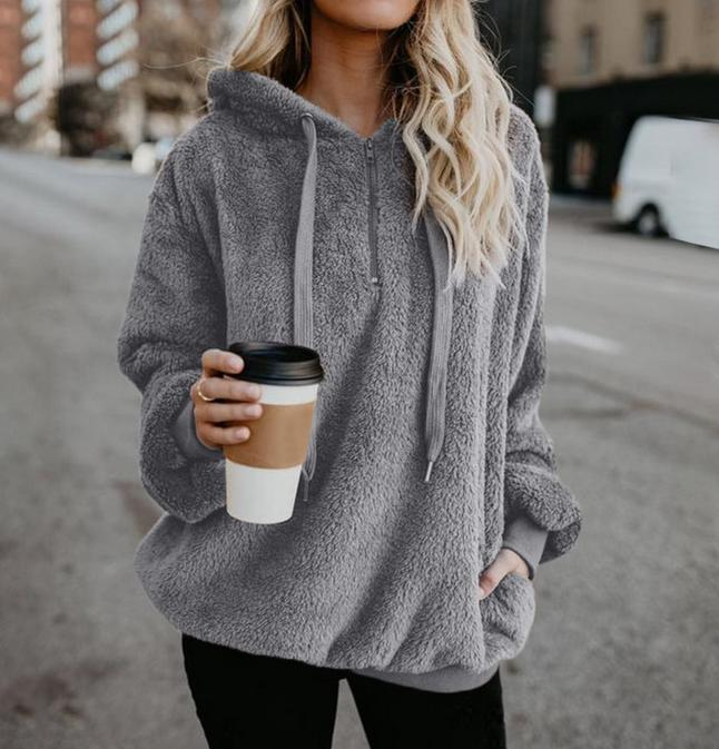 Plus Size Autumn Winter Women Casual Solid Zipper Long Sleeve Sweatshirt Long Sleeve Plush Fluffy Hoodies Fleece Pullover 5xl