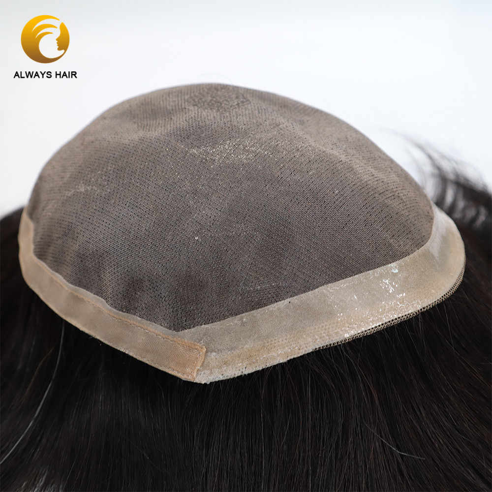 "Semi Quality Mono & Poly Coated 6 inch Men Toupee Front Coutour ""CC""  Indian Human Hair Wigs Small Size Hair Piece"