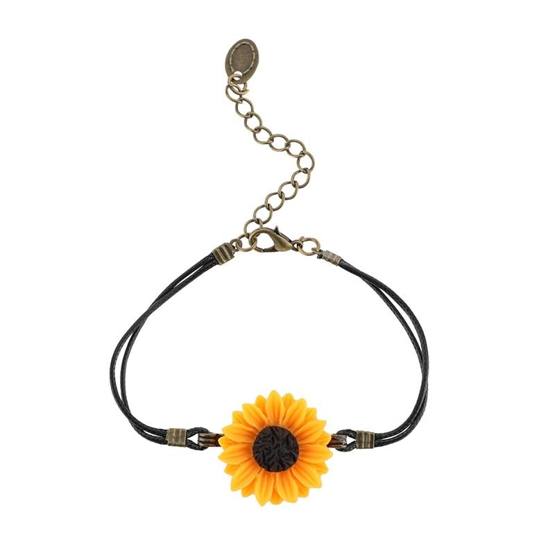 1pcs Handmade Pu Leather Rope Sunflower Beads Bracelet For Women Girls Friendship Sisters Beads Bracelets Jewelry Wholesale