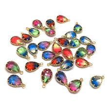 Natural Stone Pendants Water Drop Shape Decorated Gradient color Pendants for Jewelry Making DIY necklace accessories(China)