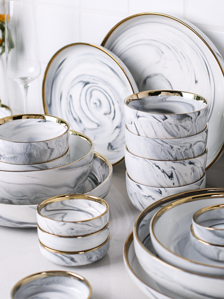 Vaisselle en céramique de luxe Phnom   Ensemble de vaisselle de luxe, bols assiettes baguettes plats ménage humidificateur, assiette en porcelaine - 2