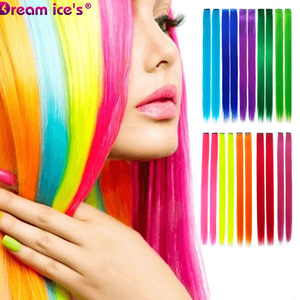 Long Straight Rainbow color Fake Hair Extensions One Piece Fashion Straight Hairpiece For Women Girls