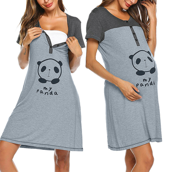 Summer Maternity Dress Cartoon Short Sleeve Nightdress Cotton Pregnant Casual Clothes Breastfeeding For Women