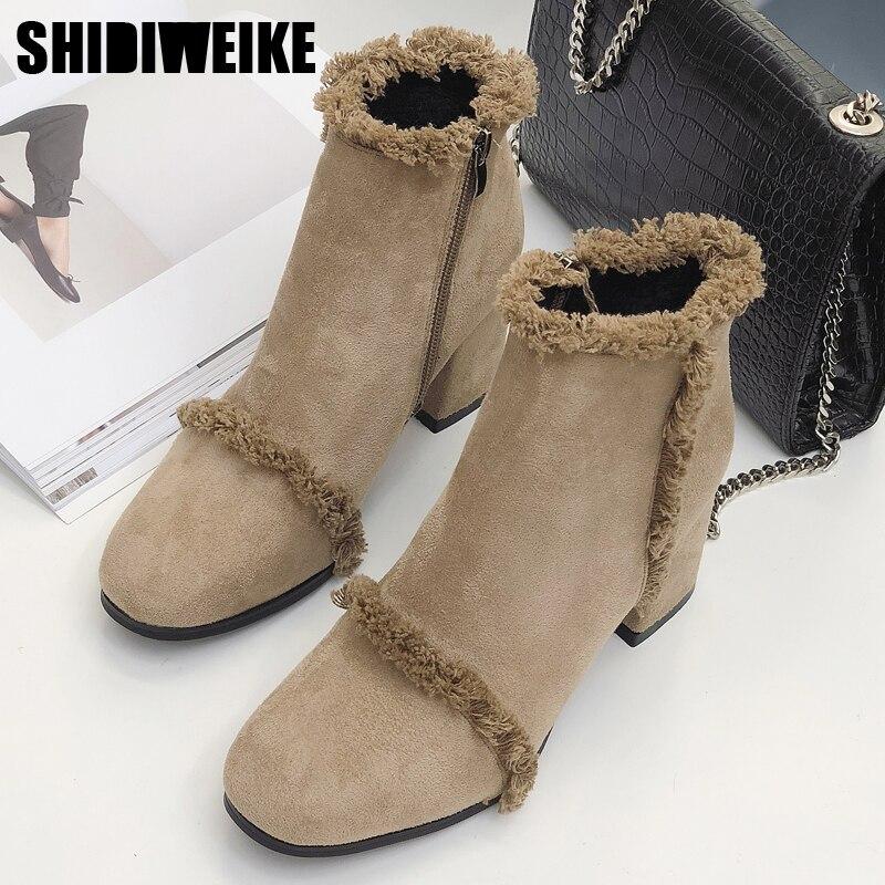 Womens Office Awaken Block Heel Ankle Boots Leopard Flock Suede Boots